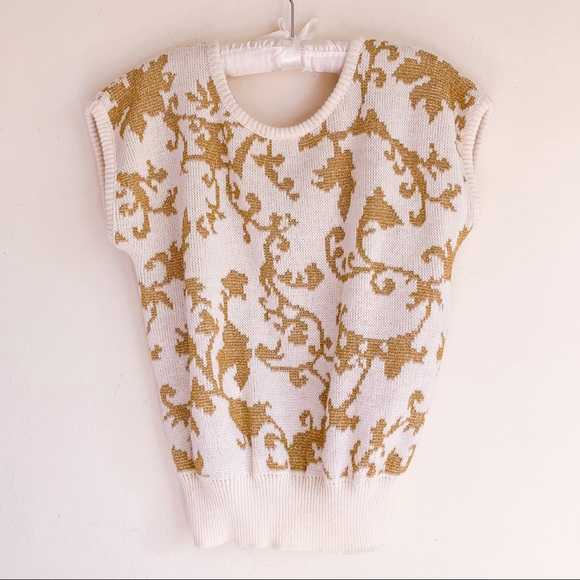 Vintage Beldoch Popper Sweater Top Gold and White